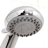 hand-held shower head closeup